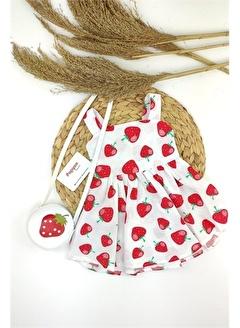 Papyon Baby Kids Kız Bebek Çilek Baskılı Arka Taraf Fiyonklu Çantalı Elbise